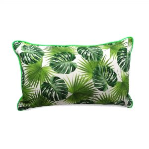 Large rectangle tropical leaf cushion with green velvet and neon green piping
