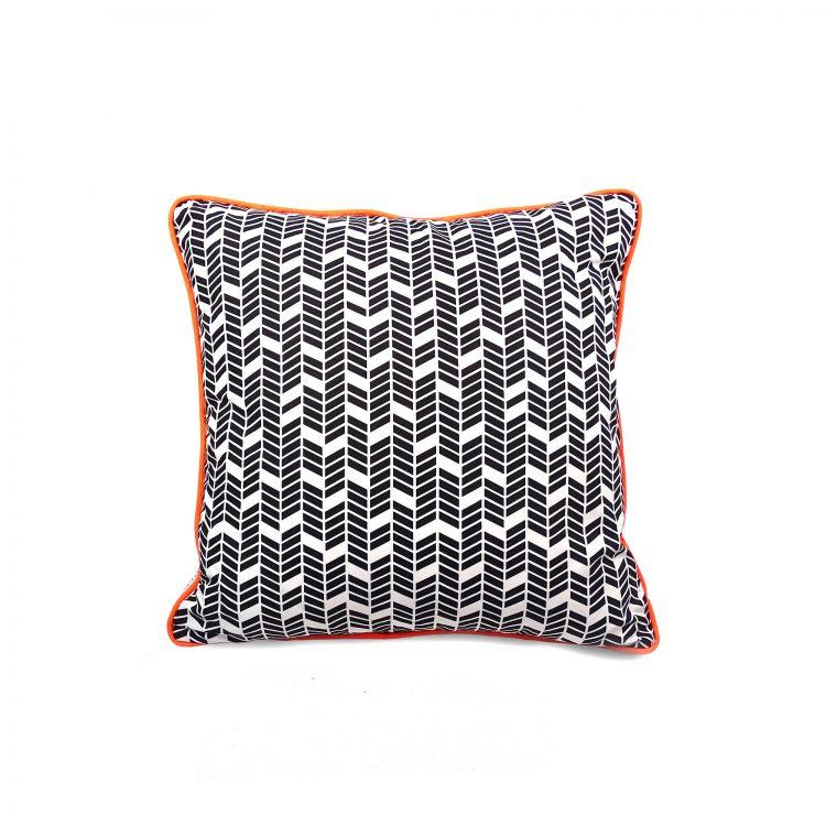 Chevron arrow black and white cushion with neon orange piping