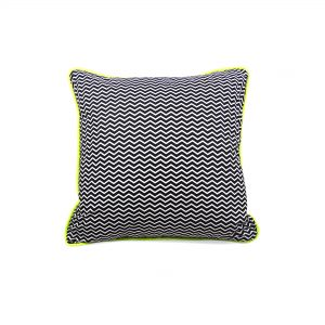 Monochrome Chevron Print Cushion Cover with Grey Velvet Back and Neon Yellow Piping