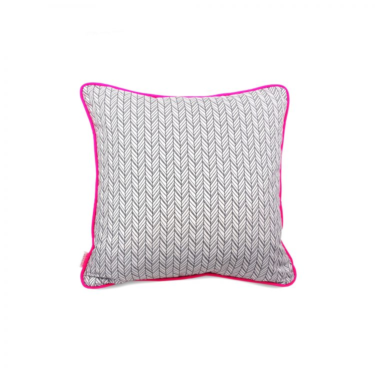 Herringbone Print Cushion Cover with Grey Velvet and Neon Pink Piping