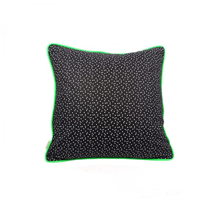 Black and white triangle geometric print cushion cover with velvet back and neon green piping