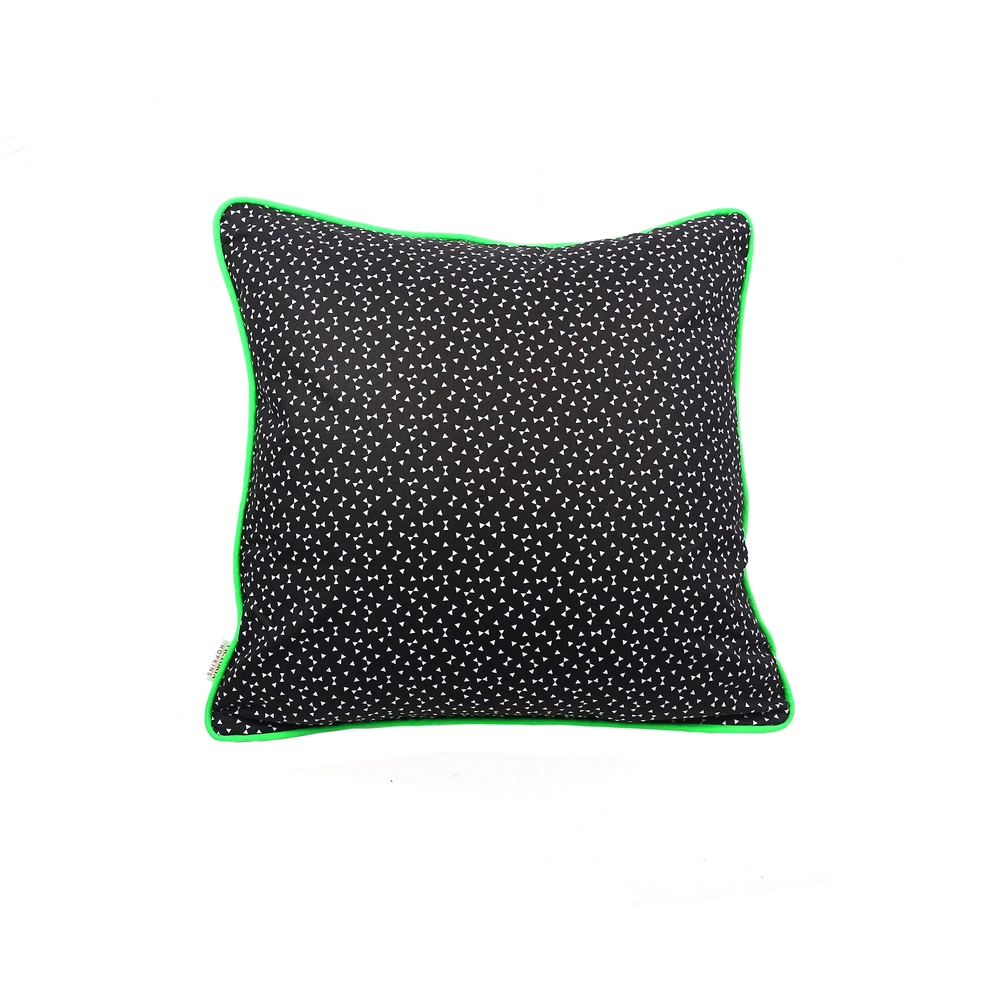 Triangle Print Cushion Cover With Grey Velvet Back And