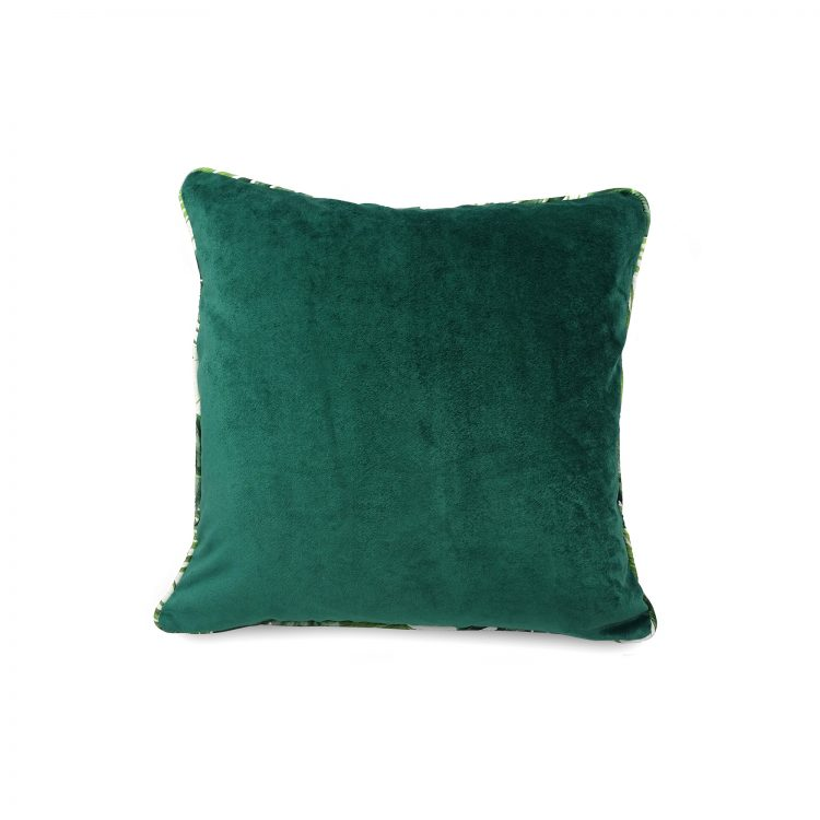 Emerald green velvet cushion cover with tropical leaf piping