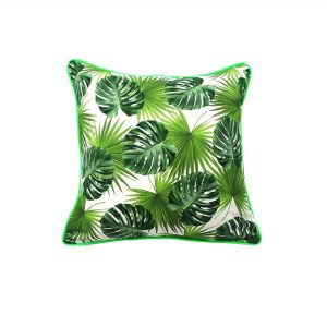 Jungle leaf print fabric with green velvet back and neon green piping