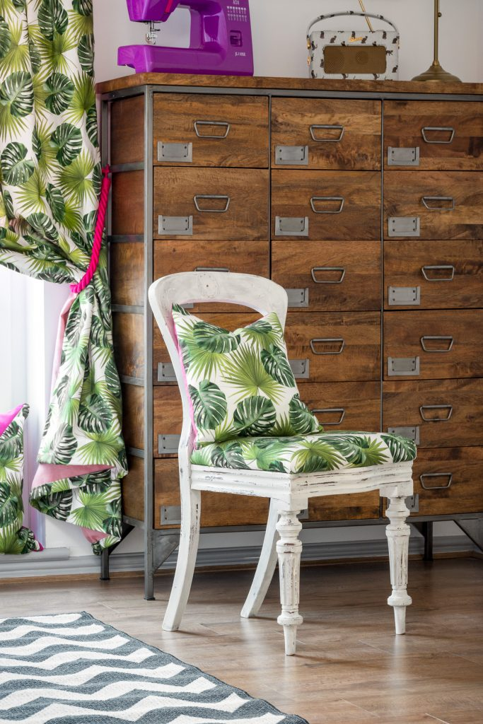 Close up of safari chair and curtains