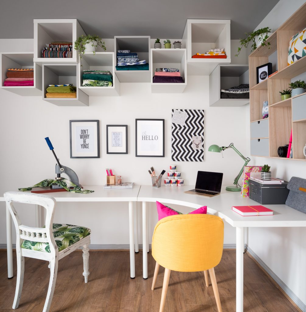 Bold and fun home office and craft room