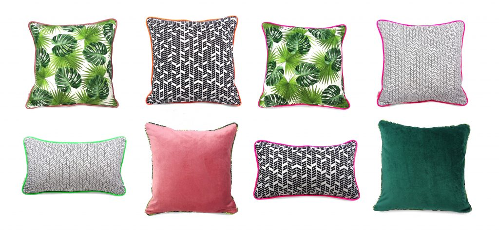 Shot showing examples of the cushion covers sold in our shop