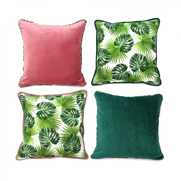 Four set of velvet and tropical leaf print cushion covers