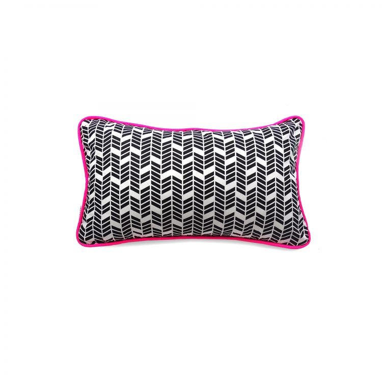 Black and white geometric print rectangle cushion cover with neon pink piping