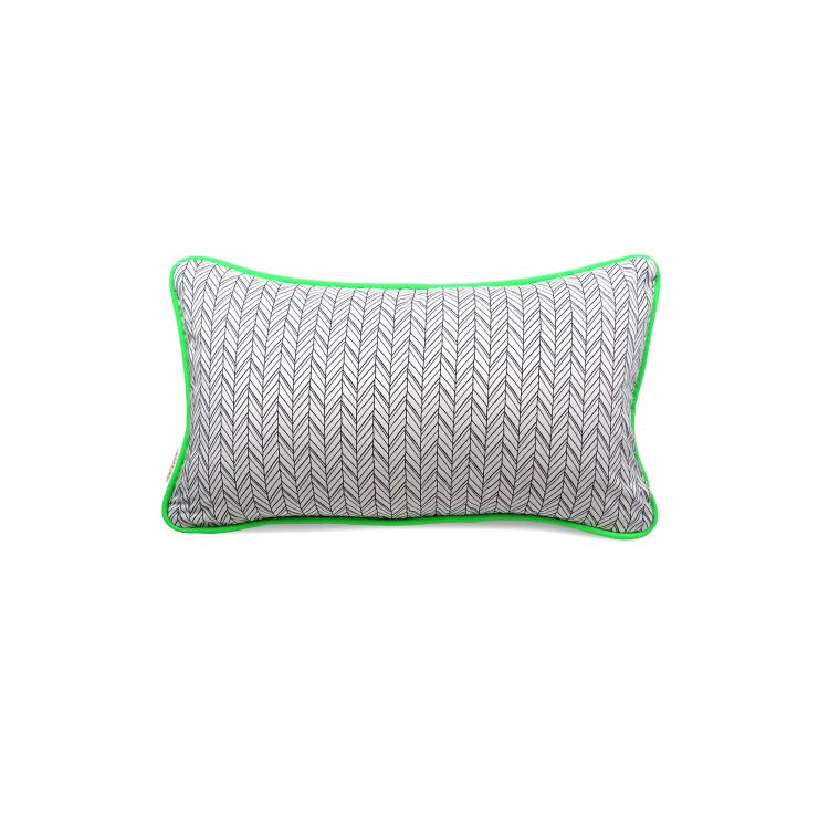 Rectangle herringbone and neon green cushion cover
