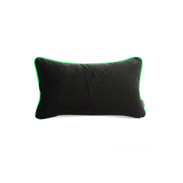 Back of herringbone rectangle cushion cover with neon green piping