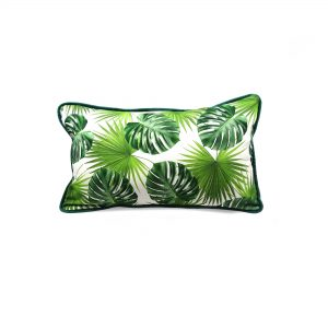 Jungle leaf print rectangle cushion cover with gold velvet back and green velvet piping
