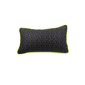 Triangle black and white print cushion cover with velvet back and neon yellow piping