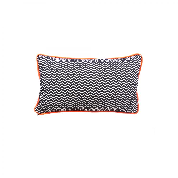 Rectangle chevron print cushion cover with grey velvet back and neon piping