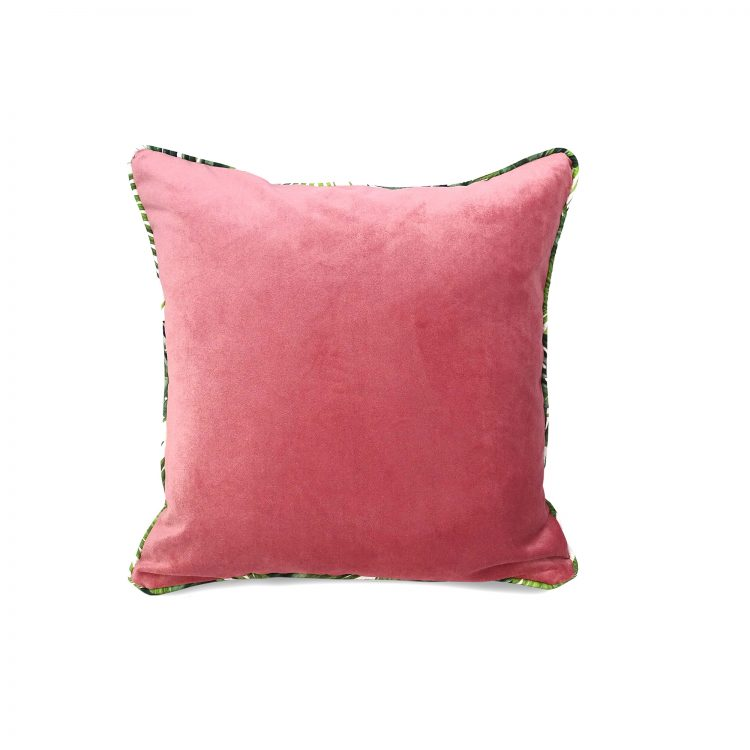 Blush pink velvet cushion cover with tropical leaf print piping
