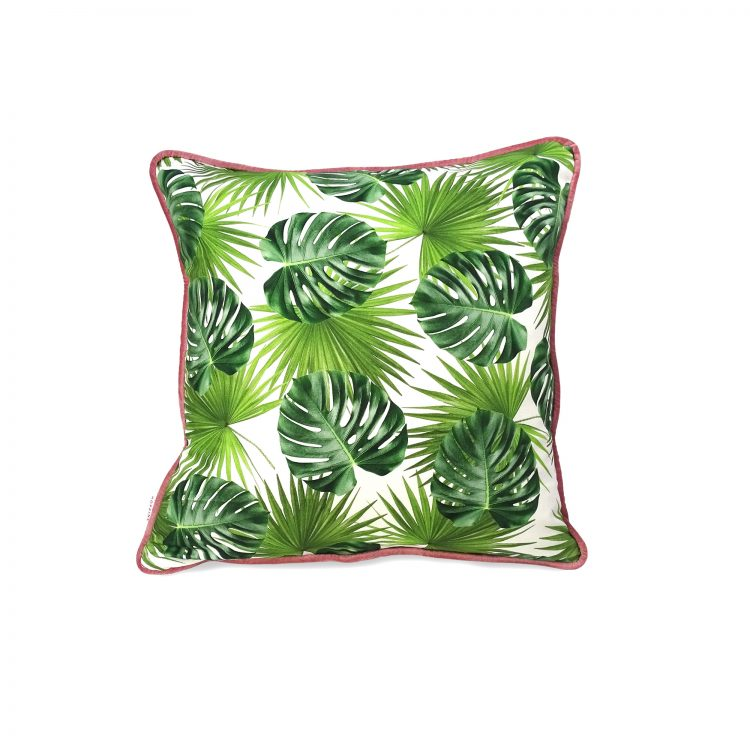 Jungle leaf print cushion cover with blush pink velvet piping
