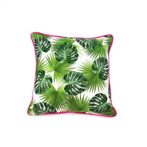 Tropical leaf print cushion cover with pink velvet back and neon pink piping