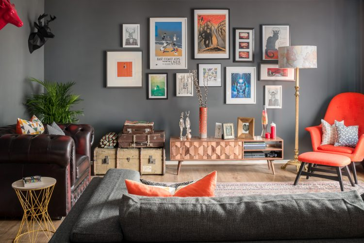 Shot of a modern living room and gallery wall