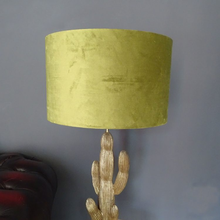 Close up of lime green velvet lampshade