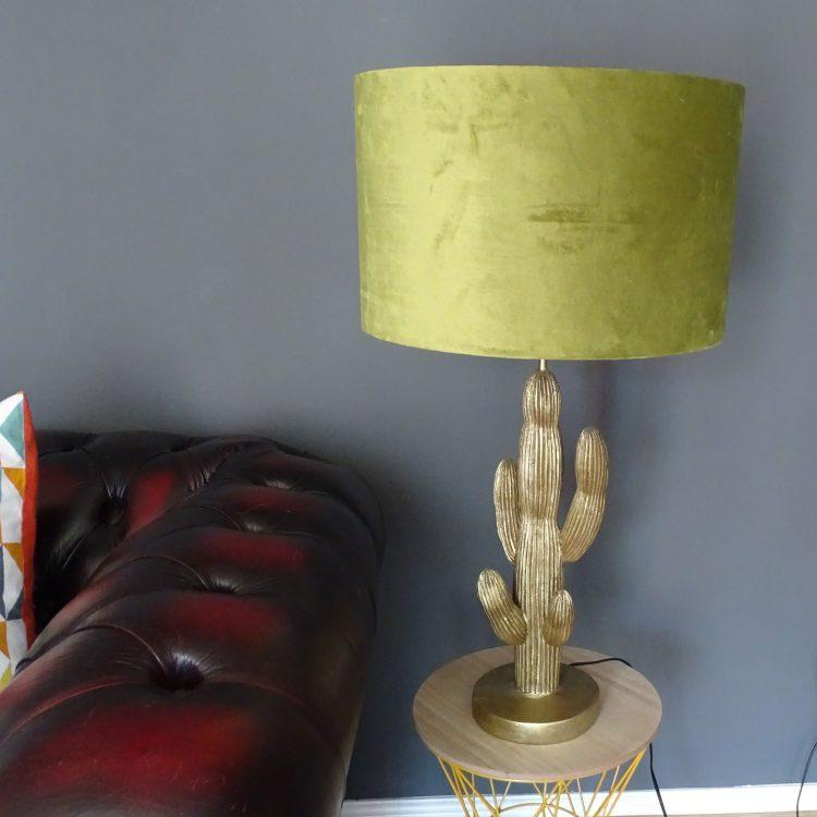 Lime green velvet 40cm drum lampshade