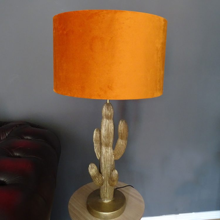 orange velvet drum lamp shade