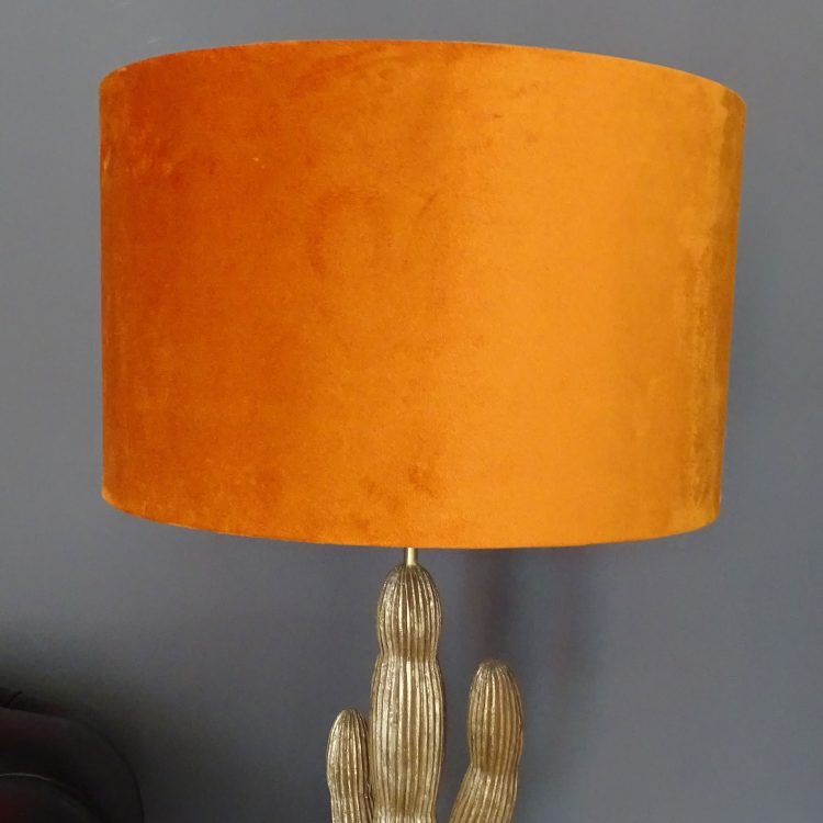 large orange velvet drum lampshade wide shot