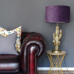 Purple velvet drum lampshade wide shot