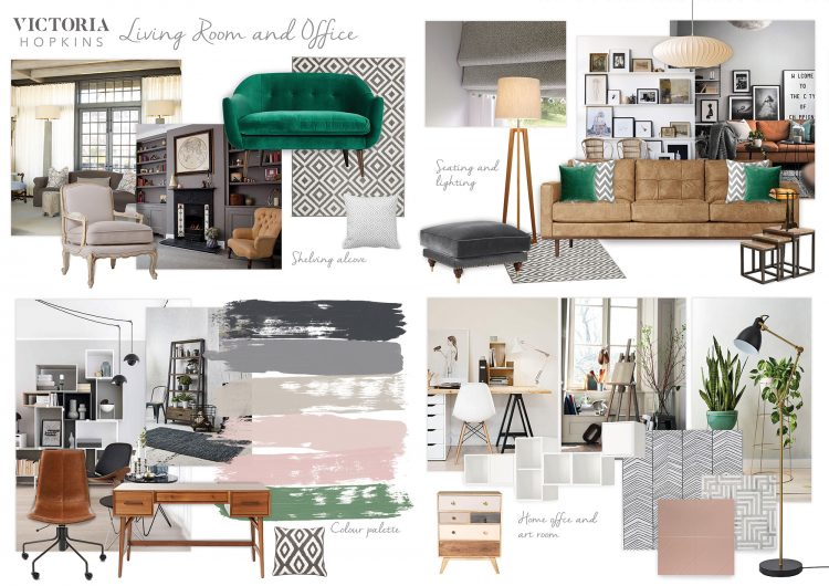 Example of a mood board for an eclectic living room