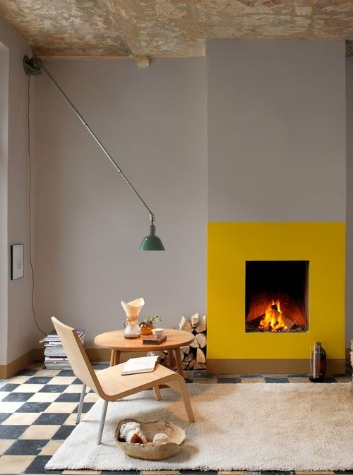 Fireplace created by colour blocking