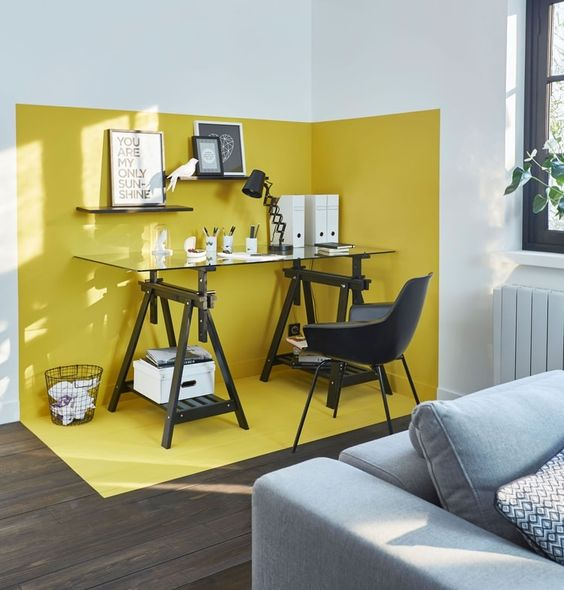 Workspace uses yellow to zone the room